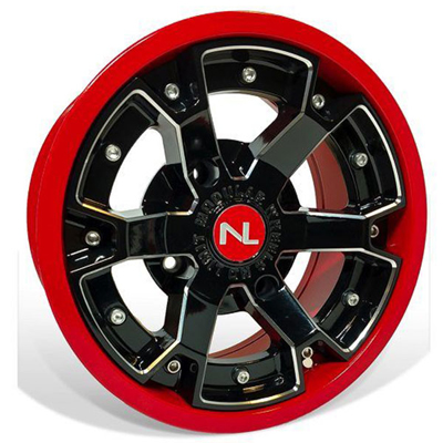 Deuce Wheel, 14x7, 4/137, Gloss Black & Indy Red