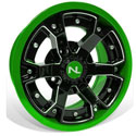 Deuce Wheel, 14x7, 4/110, Gloss Black & Green