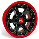 Deuce Wheel, 14x7, 4/110, Gloss Black & Indy Red