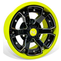 Deuce Wheel, 14x7, 4/156, Gloss Black & Lime Squeeze