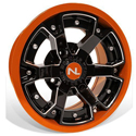 Deuce Wheel, 14x7, 4/110, Gloss Black & Orange