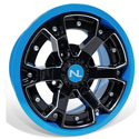 Deuce Wheel, 14x7, 4/110, Gloss Black & Octane Blue