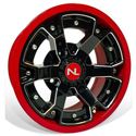 Deuce Wheel, 14x7, 4/110, Gloss Black & Solar Red