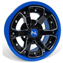 Deuce Wheel, 14x7, 4/156, Gloss Black & Velocity Blue