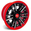 Storm Wheel, 14x7, 4/110, Gloss Black & Indy Red