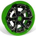 Deuce Wheel, 15x7, 4/110, Gloss Black & Green