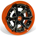 Deuce Wheel, 15x7, 4/110, Gloss Black & Orange