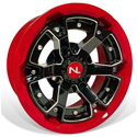 Deuce Wheel, 15x7, 4/110, Gloss Black & Solar Red