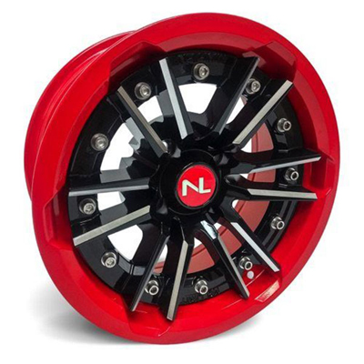 Storm Wheel, 15/7, 4/156, Gloss Black & Indy Red
