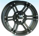 14x8, 4/137, 12MM, 5+3 ITP SS212 Alloy Black Wheel Rear - Mule/Teryx