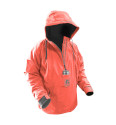 Women's Waterproof 1/2 Zip Bog Hoodie - Coral & Grey